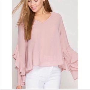 She & Sky Silk Blend Ruffled Sleeve Blouse S L NWT